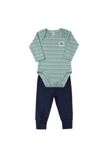 Pijama Bebê Ano Zero Suedine Listrado E Liso - Verde