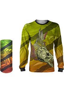 Camisa Pesca + Máscara Quisty Tucunaré Skull Fishing + Proteção 50 Uv - Amarelo Infantil/Adulto - Camiseta De Pesca Quisty