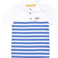 ce685001fa237 Camisa Polo Alakazoo Menino Listrado Branca