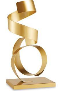 Escultura Metalizada- Dourada- 27,5X12,5X10Cm- Mmart