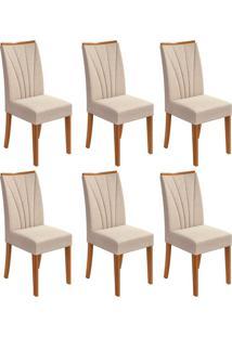 Conjunto Com 6 Cadeiras Apogeu Lll Rovere E Bege