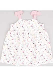 Vestido Infantil Estampado De Borboletas Com Laços Alça Média Branco