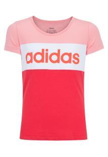 Camiseta Adidas Yg Linear Cb Feminina - Infantil - Rosa Cla/Rosa