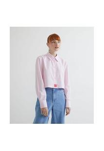 Camisa Cropped Em Tricoline Listrada Com Manga Longa   Blue Steel   Rosa   M