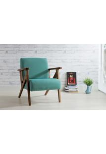 Poltrona De Madeira Decorativa Azul Turqueza - Poltrona Confortável Para Sala E Quarto - Verniz Capuccino \ Tec.950 - Anis 72X76X85 Cm