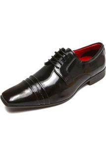 Sapato Social Couro Mariner Verniz - Preto E Vermelho - 41 - Masculino