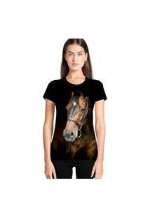 Camiseta Feminina Ramavi Cavalo Manga Curta Preto Preto Gg