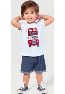 Conjunto Bebê Menino Blusa E Shorts Play Jeans Hering Kids