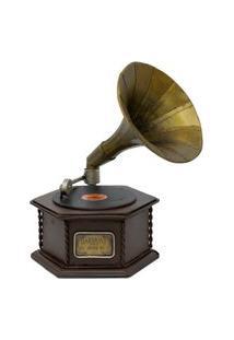 Enfeite Retrô Minas De Presentes Gramofone Marrom