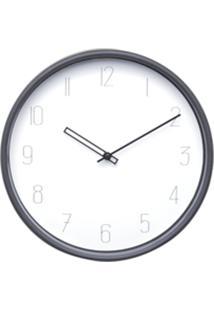 Relógio Parede Plástico Elegant Round Branco E Preto 25,4X4X25,4 Cm Urban
