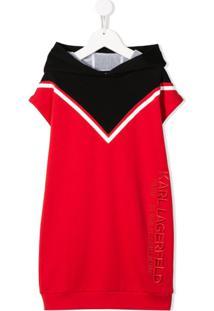 Karl Lagerfeld Kids Vestido Color Block Com Capuz - Vermelho
