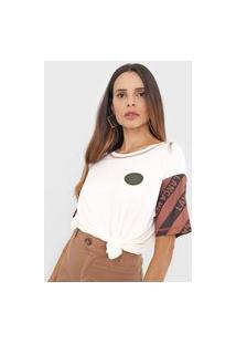 Camiseta Lança Perfume Tag Off-White/Marrom
