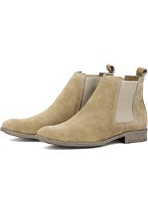 Botina Javali Chelsea Boots De Couro Areia