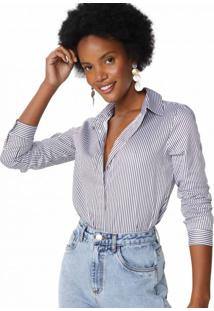 Amaro Feminino Camisa Elegance Essential, Listrado Preto Fino
