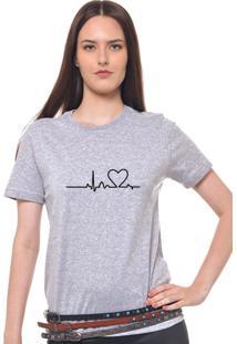 Camiseta Basica Joss Estampada Heart Beat Cinza Mescla