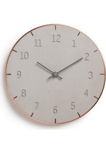 Relógio De Parede Piatto 25 Cm Concreto E Cobre