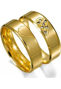 Aliança De Ouro Noivado Com Desenho De Coração - As0417 + As0418