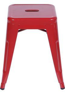 Banqueta Retro Baixa- Vermelha- 46X39,5X39,5Cm- Or Design