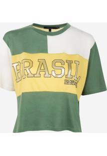 Camiseta Rosa Chá Copa Malha Estampado Feminina (Brasil, P)