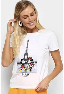 Camiseta Cativa Disney Mickey & Minnie Paris Feminina - Feminino-Branco