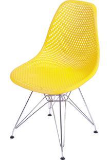 Cadeira Colmeia Com Base Em Metal Bálcãs – Amarelo