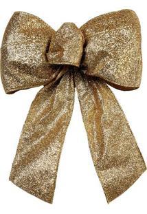 Laço Com Glitter- Dourado- 27X20Cmcromus