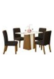 Sala De Jantar Mesa Órus 120Cm Com 4 Cadeiras Tauá Nature/Off White/Marrom - Henn