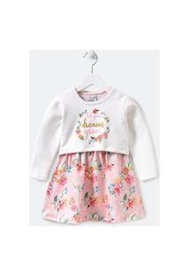 Vestido Infantil Floral Com Blusão Sobreposto - Tam 1 A 5 Anos | Póim (1 A 5 Anos) | Multicores | 02