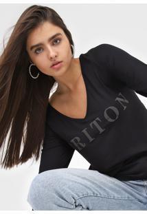 Camiseta Triton Gola V Preta - Preto - Feminino - Viscose - Dafiti