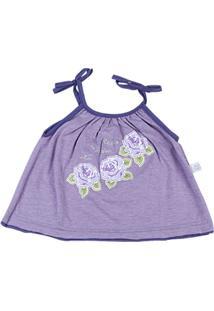 Conjunto Bebê Malha Mescla E Cotton Roses Garden - Feminino-Lilás