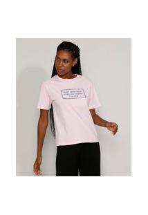 "T-Shirt Feminina Mindset Don'T Come Back"" Manga Curta Decote Redondo Rosa Claro"""