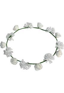 Headband Universo Onassis Floral Branco