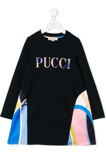 Emilio Pucci Junior Vestido Com Logo Bordado - Azul