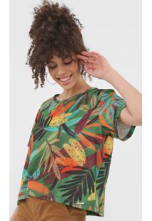 Camiseta Colcci Folhagem Verde/Laranja - Verde - Feminino - Poliã©Ster - Dafiti