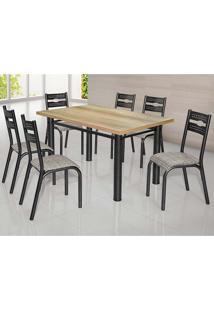 Conjunto De Mesa Com 6 Cadeiras - Luna - Ciplafe - Junco Manteiga