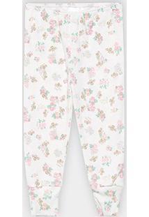 Calça Infantil Up Baby Estampa Floral Feminina - Feminino-Branco