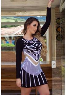 Vestido Curto Tricot Mangas Longas Estampado Preto