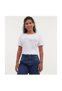Camiseta Manga Curta Com Bordado De Mãos - Todas Avançam Juntas | Blue Steel | Branca | Gg