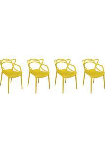 Kit Com 4 Cadeiras Allegra Amarelo