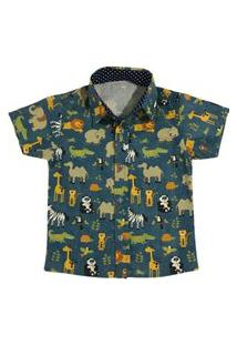 Camisa Social Esporte Fino Safari Mabu Denim Menino Infantil