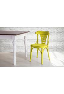 Cadeira De Madeira Country Amarela Torneada Com Encosto E Assento Anatômico Augustine - 45X50,5X83 Cm