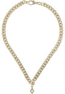 Marcelo Burlon County Of Milan Cross Pendant Chain Necklace - Dourado