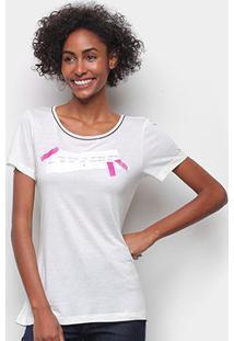 Camiseta Forum Básica Estampada Feminina - Feminino-Areia