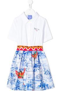 Stella Jean Kids Vestido Godê Com Estampa Gráfica - Branco