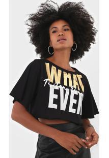 Camiseta Cropped Triton What Ever Preta - Kanui