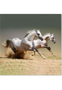 Quadro Cavalos Uniart Branco 45X45Cm