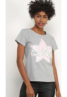 Camiseta Facinelli Golden Star Paetês Feminina - Feminino
