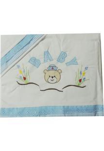 Lençol De Berço 3 Peças Bordado Urso Marinheiro Baby
