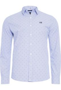 Camisa Masculina Shell Dobby New Classic -Azul