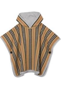 Burberry Kids Reversible Striped Poncho - Neutro